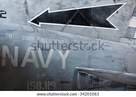 Detail of military jet aircraft body fuselage - stock photo