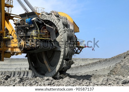 detail of mining wheel in brown coal mine - stock photo