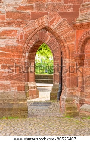 Detail of minster of Basel - stock photo
