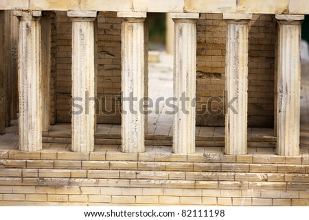 Detail of model of Parthenon, Acropolis, Athens - stock photo