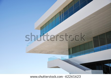 Detail of modern architecture building with copy space on the left - stock photo
