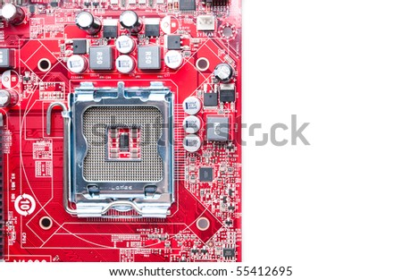 Detail of modern computer mainboard isolated on white background