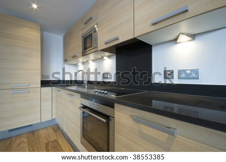 detail of modern fully fitted kitchen