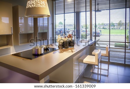 detail of modern kitchen - stock photo