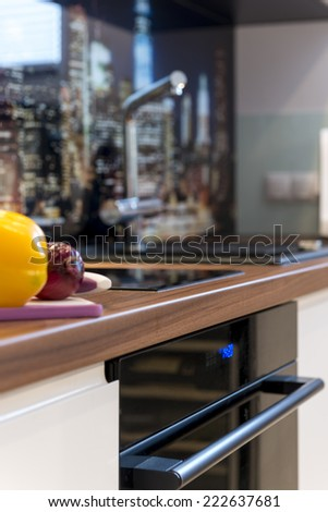 Detail of modern kitchen with focus on counter - stock photo