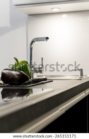 Detail of modern white kitchen clean interior design - stock photo