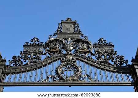 Detail of Morgan Gate, 1877, one of the Entrance to Harvard Yard in Cambridge, MA - stock photo