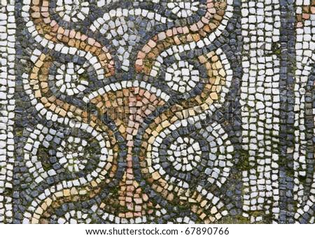 detail of mosaic, Afrodisias - stock photo