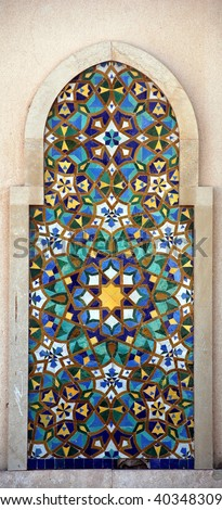 Detail of Mosque of Hassan II in Casablanca , Morocco. Typical mosaic - stock photo