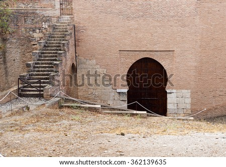 Detail of mudejar architecture in the form of a door in Alhambra, Granada, Spain  - stock photo