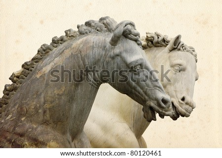 Detail of Neptune Fountain on Piazza della Signoria in Florence, Italy. - stock photo