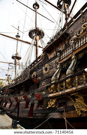 Detail of Neptune Galleon, used by R. Polansky for the movie Pirates