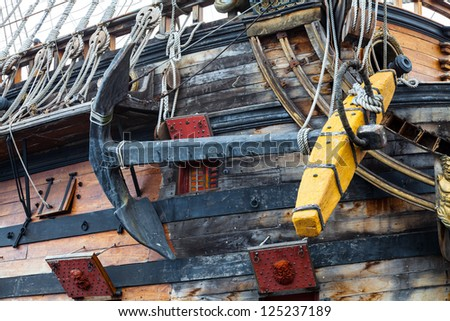 Detail of Neptune Galleon, used by Roman Polansky for the movie Pirates - Genoa, Italy - stock photo
