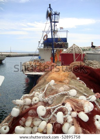 Detail of nets as part of fishing equipment - stock photo