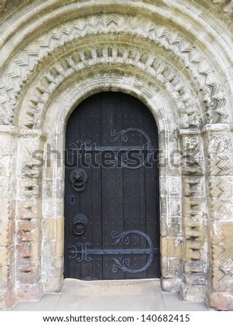 Detail of Norman Door, Adel Church, Leeds, Yorkshire, UK (1150-70) - stock photo