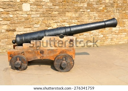 Detail of old canon in Lincoln, England - stock photo
