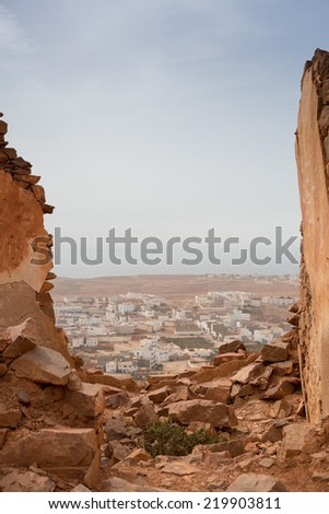 Detail of old colonial fort in Mirleft, a small town and rural commune in Tiznit Province of the Souss-Massa-Draa region of Morocco.