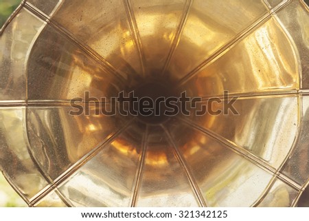 detail of old gramophone  - stock photo