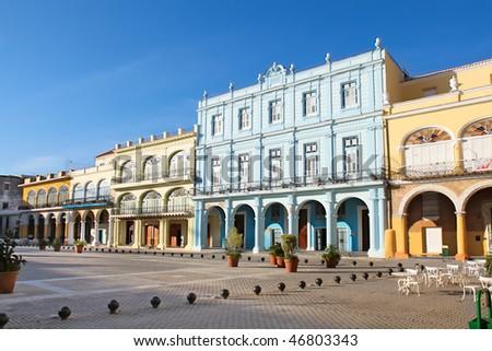 Detail of Old Havana plaza Vieja with colorful tropical buildings, Havana ,Cuba - stock photo