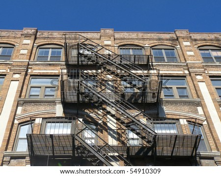 detail of old houses with a metal staircase in Boston