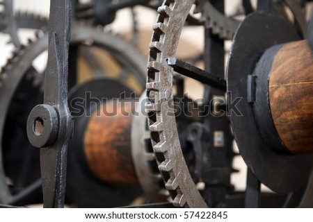 Detail of old machine cog wheels - stock photo
