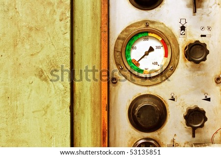 Detail of old machine with valve - stock photo