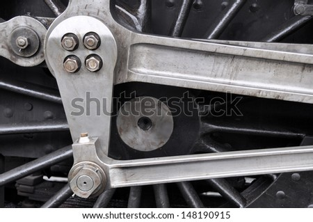 Detail of old preserved British steam locomotive - stock photo