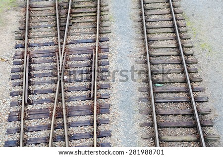 Detail of old railways with junction - stock photo