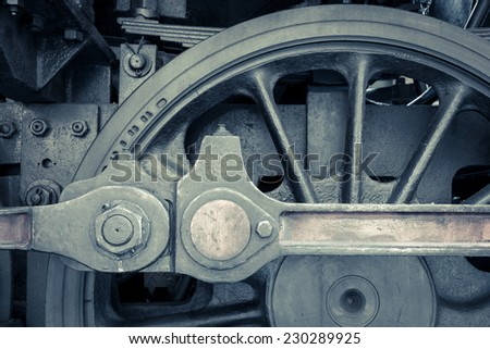 Detail of old steam locomotive. - stock photo