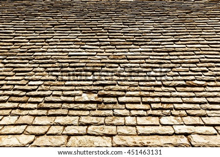 Detail of old stone roof - stock photo