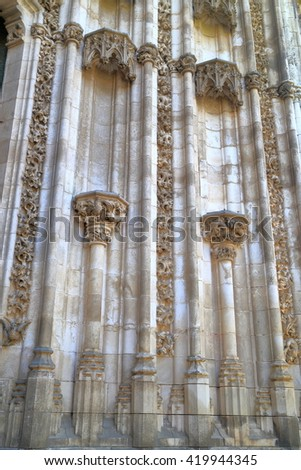 Detail of old stone sculptures on the doors of the Cathedral of Saint Mary of the See (Seville Cathedral) in Seville, Andalusia, Spain - stock photo