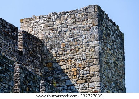 detail of old stone tower at belgrade fortress, Belgrade Serbia - stock photo
