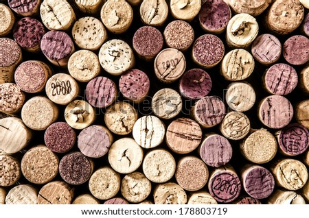 Detail of old wine corks in color vintage style - stock photo