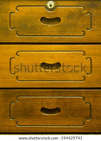 Detail of old wooden drawer, background, texture - stock photo