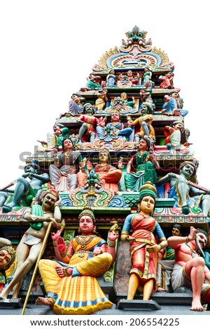 Detail of oldest hindu temple Sri Mariamman in Singapore isolated on white - stock photo