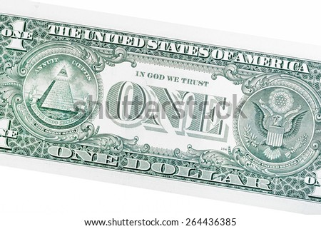 Detail of one dollar bill isolated on white.