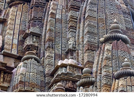 Detail of one of the temples of Khajuraho, India