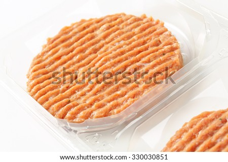 detail of package of raw burger patties on white background - stock photo