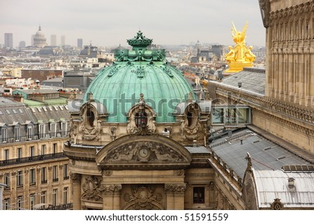Detail of Palais or Opera Garnier & The National Academy of Music in Paris, France - stock photo