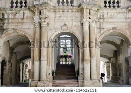 Detail of Palazzo Beneventano Del Bosco in Syracuse. Syracuse is a historic city in Sicily, Italy. It is listed by UNESCO as a World Heritage Site. - stock photo