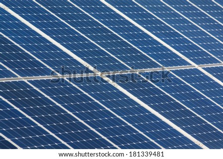 Detail of panels on field for solar energy in Czech republic - stock photo