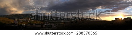 Detail of panoramic of Pocatello Idaho at Sunset - stock photo