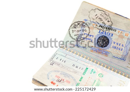 Detail of passport page with international entry visa - stock photo