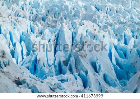 Detail of Perito Moreno glacier in National Park Los Glaciares, Argentina - stock photo
