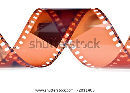 Detail of photography film on a white background - stock photo