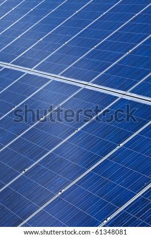 detail of photovoltaic solar panels - stock photo