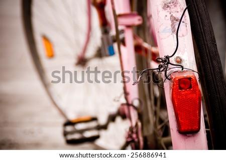 Detail of Pink Retro Bike. - stock photo