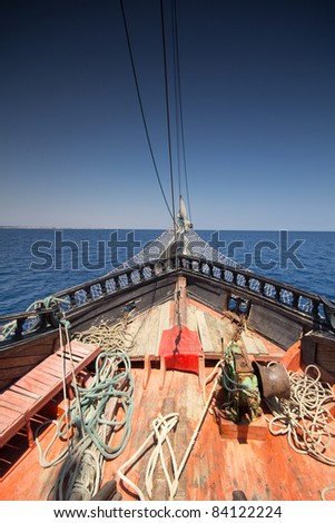 detail of pirate ship in Tunisia - stock photo