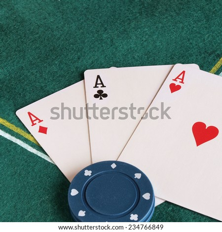 Detail of poker cards and chips. - stock photo