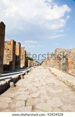 Detail of Pompeii site. The city of was destroyed and completely buried during a long catastrophic eruption of the volcano Mount Vesuvius - stock photo